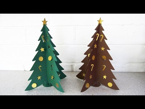 Paper Christmas tree DIY - learn how to make the Christmas craft from template - EzyCraft