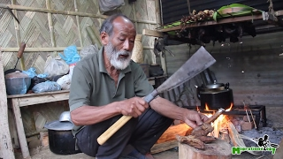 Indian Village Food in Nagaland - Fire Roasted Pig Intestines with Grandpa!