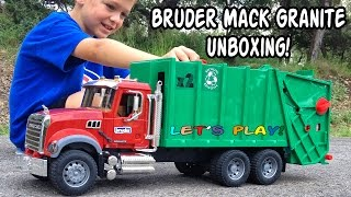 GARBAGE TRUCK Videos For Children l BRUDER Mack Granite UNBOXING And Review
