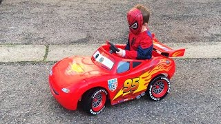 Little Boy Superhero Spider-Man Driving to the Toy Store in his Lightning McQueen Car