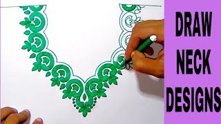 Embroidery pencil sketch neck designs,salwar kameez neck designs drawing with colour