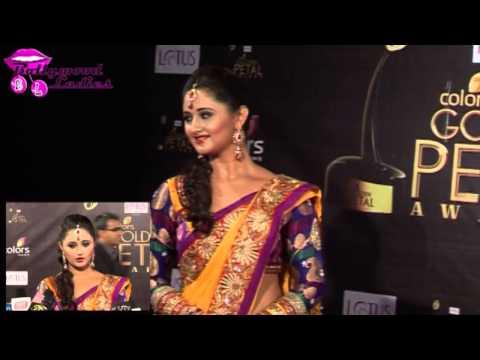 'Uttaran' actress Rashmi Desai in saree at Golden Petal Awards