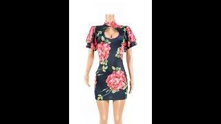 Sexy Women Print Ruffled Sleeve Dress