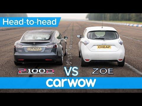 Tesla Model S vs Renault Zoe DRAG RACE BRAKE TEST & RANGE ANXIETY challenge Expensive vs Cheap