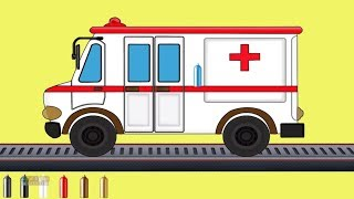 Kids TV Channel  Ambulance  Learn Colors with Vehicles Coloring Videos For Children