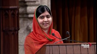 Activist Malala Yousafzai delivers impassioned speech to Canadian Parliament