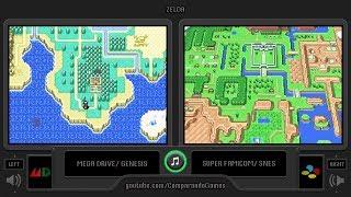 Zelda (Sega Genesis vs Snes) Side by Side Comparison (The Legend of Zelda: A Link to the Past)