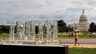 Melting ice sculpture protesting