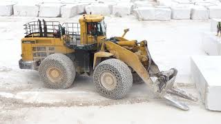 Komatsu WA800 And Cat 992 Wheel Loader Working At Marble Quarries