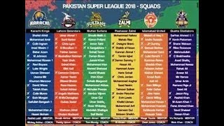 PSL 2018 all teams full squad  | All teams full squad in Pakistan super league 2018