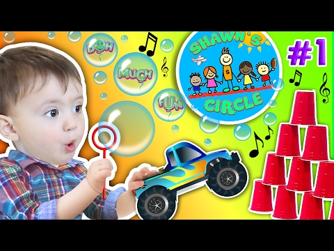 Shawn s Circle ♫ POPPING BUBBLES ♪ Family Fun Games w Baby Toys Playtime 1 DOH MUCH FUN
