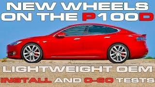New OEM Tesla Forged Lightweight Arachnid Wheels on the Tesla Model S P100