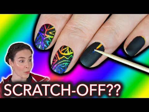 Rainbow Scratch Off Nails stress relieving nail art search