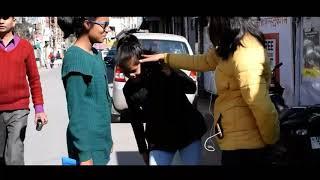 SLAPING PRANK in pithoragarh made by DEEPTI BISHT!!.
