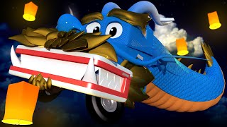 The DRAGON TRUCK!  - Carl the Super Truck in Car City   Children Cartoons