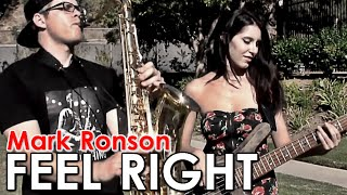 Feel Right - Mark Ronson - Bass & Saxophone Cover - BriansThing & Anna Sentina