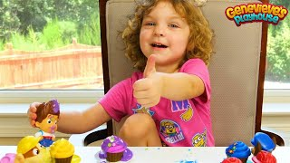Best Toddler Learning Video for Kids Genevieve makes Toy Cupcakes for Paw Patrol w/ Icing, Sprinkles