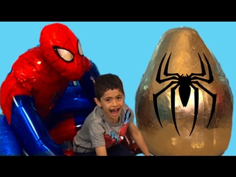 Super Giant Golden Surprise Egg Spiderman Egg Toys Opening 1 Kinder Surprise Eggs Unboxing