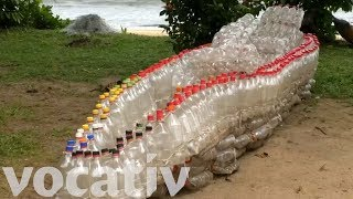 A Fishing Boat Made Of Discarded Plastic Bottles