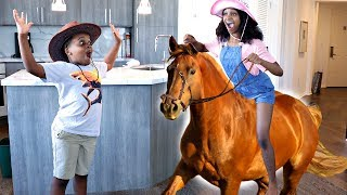 HORSE GOES WILD IN THE HOUSE AGAIN! - Shiloh and Shasha - Onyx Kids