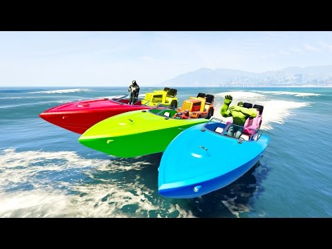 COLOR BOAT with Superheroes for kids and Fun small cars cartoon for children