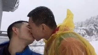 Hot Gay Kissing In The Snow