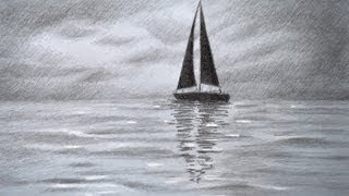 How to Draw a Sailing Boat - How to Draw a Sea - How to Draw Clouds