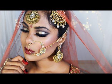 Indian/Pakistani Bridal Makeup Tutorial - Glitter Cut Crease Full Face Makeup