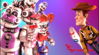 [SFM FNAF] Toy Story 4 Woody Forky Vs Sister Location Animatronics Private Room Animation