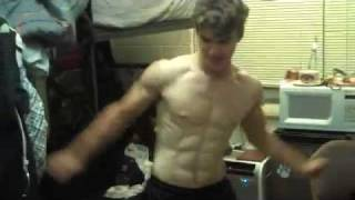 PERFECT ABS,Dorm Room Shirtless Muscle Dance with sense of humor