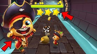 Talking Tom Gold Run *Full Screen* PIRATE GINGER New Character Catch The Raccoon