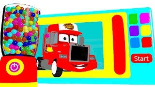 Learn Colors w Microwave Mack Truck & Cars for Babies - Superheroes Surprise Eggs for Kids