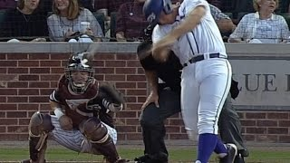 Catcher helmet EXPLODES when hit by foul ball - CWS 2016