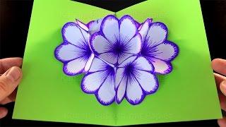 Basteln mit Papier: Blumen Pop-Up Karte falten. DIY Geschenke selber machen: Blume falten