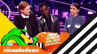 Stranger Things Cast Wins Favorite TV Show w/ Millie Bobby Brown 🏆 | Kids' Choice Awards 2018 | Nick