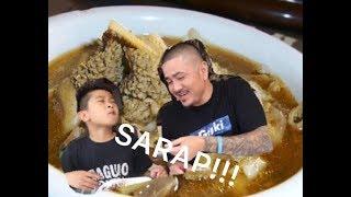 CJ EATING CHOCOLATE MEAT (DINUGUAN) AND PAPAITAN (BITTER BEEF INNARDS STEW)