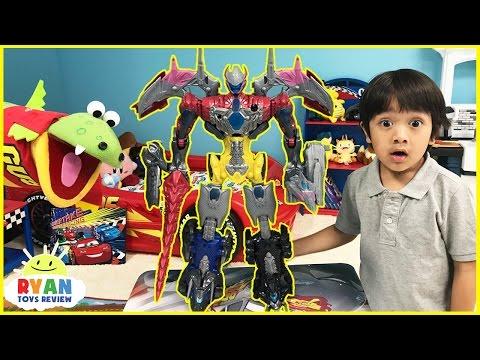 Power Rangers vs Justice League MegaZord battle Imaginext T Rex Dinosaur SuperHeroes Toys Play