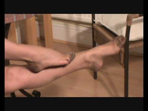My feet and toes in RHT dark tan nylon stockings 3 legsnfeetntoes