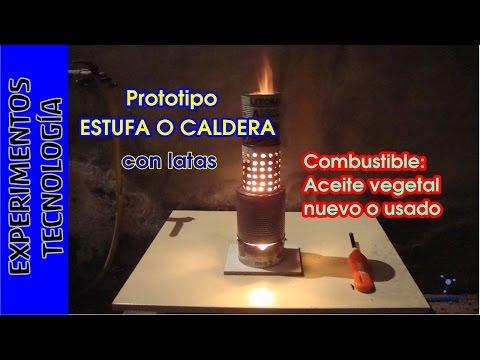 Estufa Quemador con LATAS y combustible gratis aceite usado