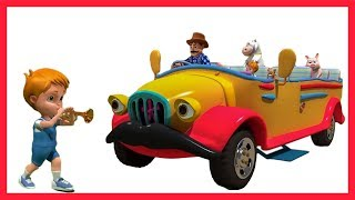 Yellow Wheels on the Bus | The Wheels on the Bus go round and round | 3D Kindergarten Kids Songs