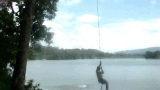 Double Backflip Fail (Face Plant) 40ft Rope Swing - Funny Video