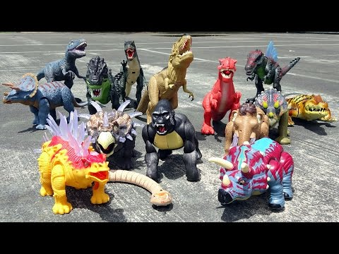 Dino Battle Showdown! Learn Dinosaur Names for Kids! Fun Toy Video!
