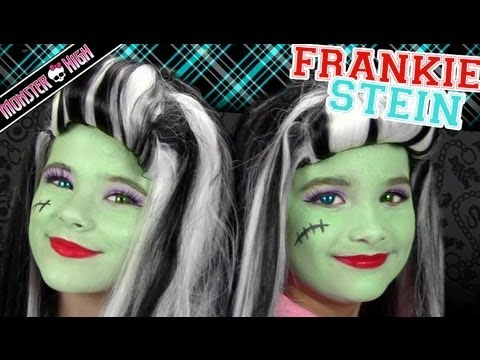 Frankie Stein Monster High Costume Makeup Tutorial for Halloween Kittiesmama & Bratayley