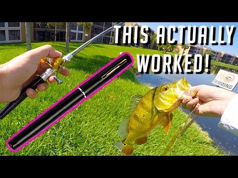 Micro Pen Fishing Rod Challenge - Smallest Rod On Amazon ~ Old Lady Called The Cops