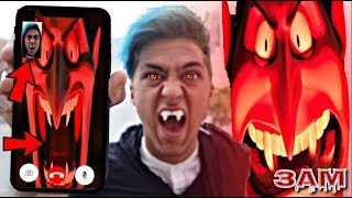 CALLING DRACULA FROM HOTEL TRANSYLVANIA ON FACETIME AT 3PM!! *OMG I TURNED INTO A DRACULA*
