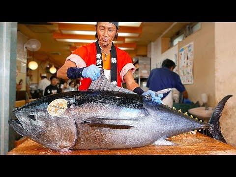Japanese Street Food BLUEFIN TUNA CUTTING SHOW & SUSHI SASHIMI MEAL