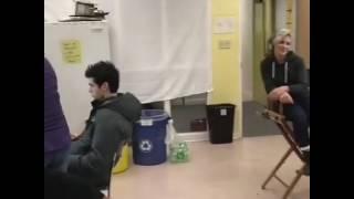 Isaiah serenading Matt during S2Ep10 filming.