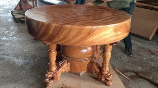 Excellent Woodworking Skills Carpenter // Build A Round Dining Table Extremely Giant and Beautiful
