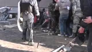 """Results of attack special forces """"Berkut"""" and riot police in Kyiv, Ukraine (18.02.2014)"""