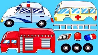 Rescue Trucks Kids : Learning Vehicles Names and Sounds - Police Car. Fire Truck: Emergency Vehicles